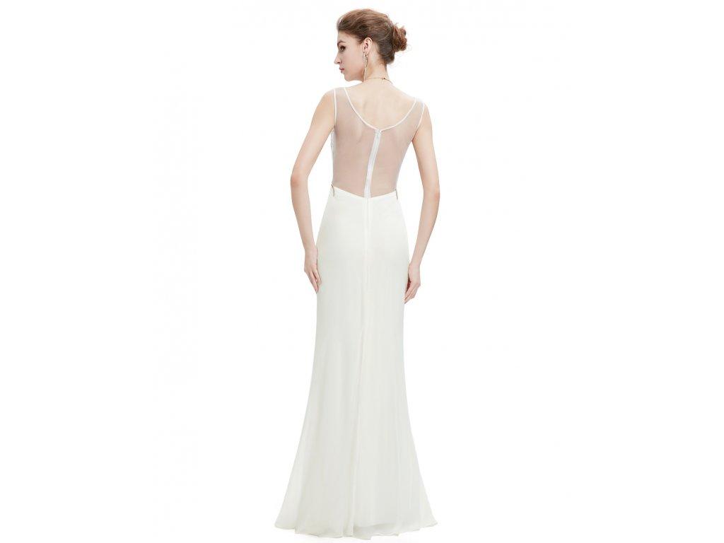 Bílé dlouhé svatební společenské šaty se zlatou nášivkou na topu 42 ... 2b8f3baad7