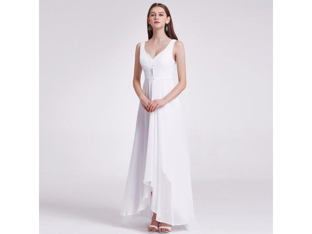 f15ece3906c Bílé dlouhé svatební společenské šaty s asymetrickou sukní vhodné i ...