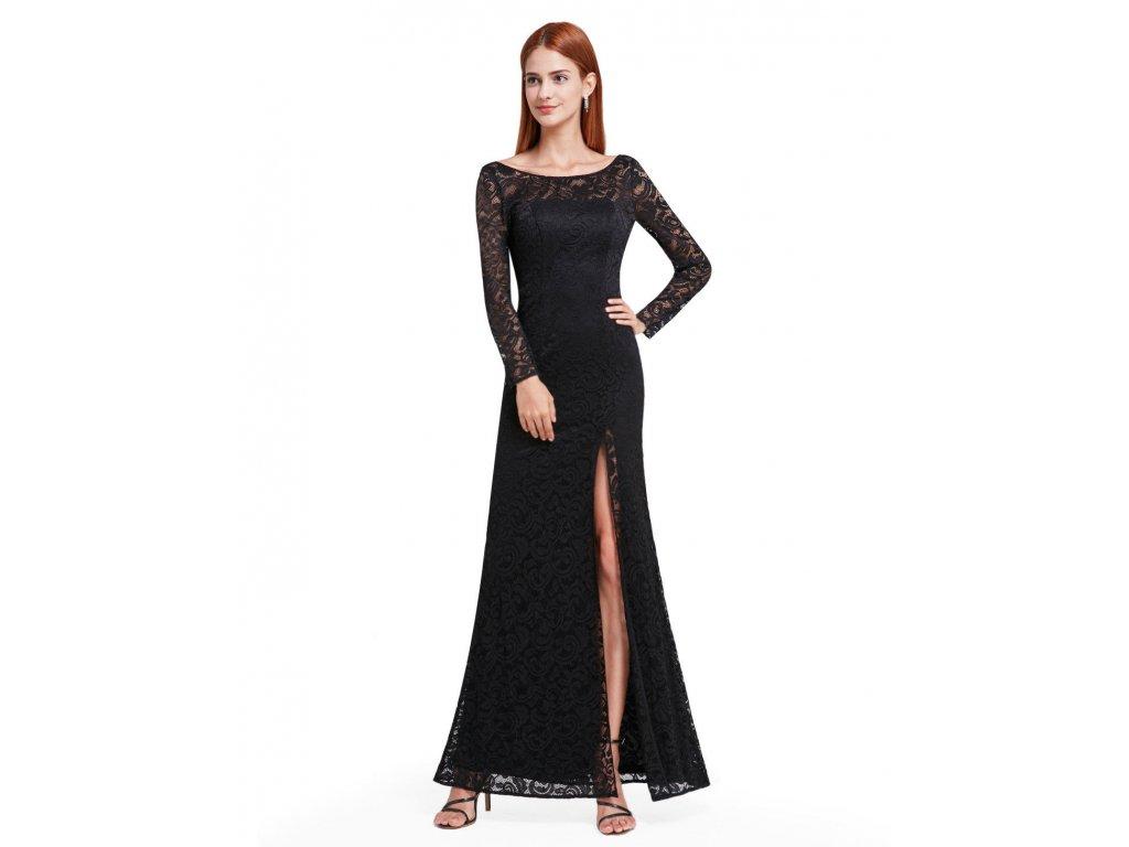 8918c869fb53 Černé dlouhé krajkové společenské šaty s dlouhým rukávem a rozparkem sexy 5