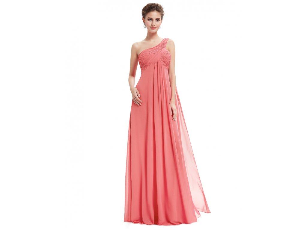 de3164b29de8 ... Lososové růžové společensé šaty empírové na jedno rameno pro těhotné 3  ...
