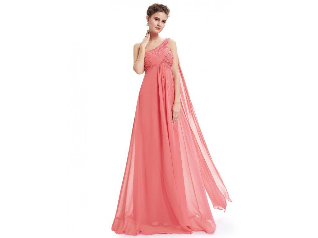 ef9d0a36aea1 Lososové růžové společensé šaty empírové na jedno rameno pro těhotné