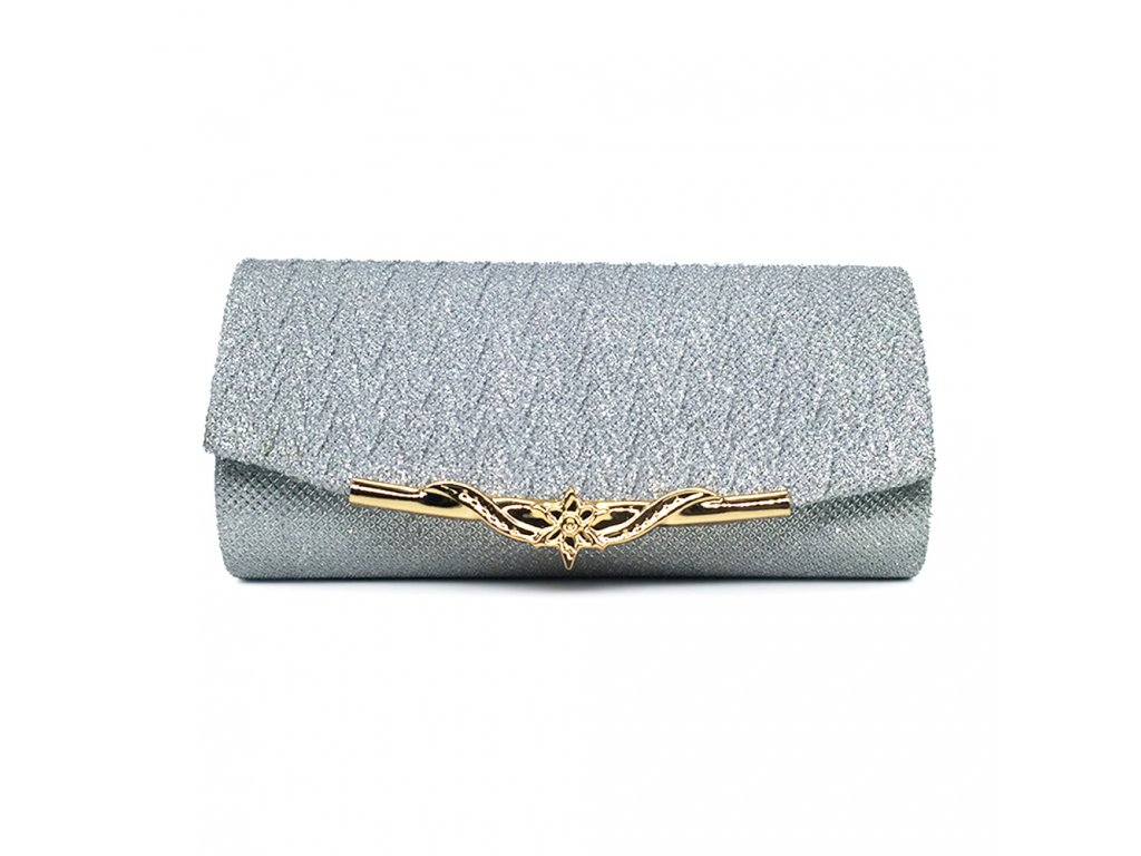 8ffe893fdc Stříbrná luxusní večerní plesová kabelka psaníčko na ples se zlatou sponou