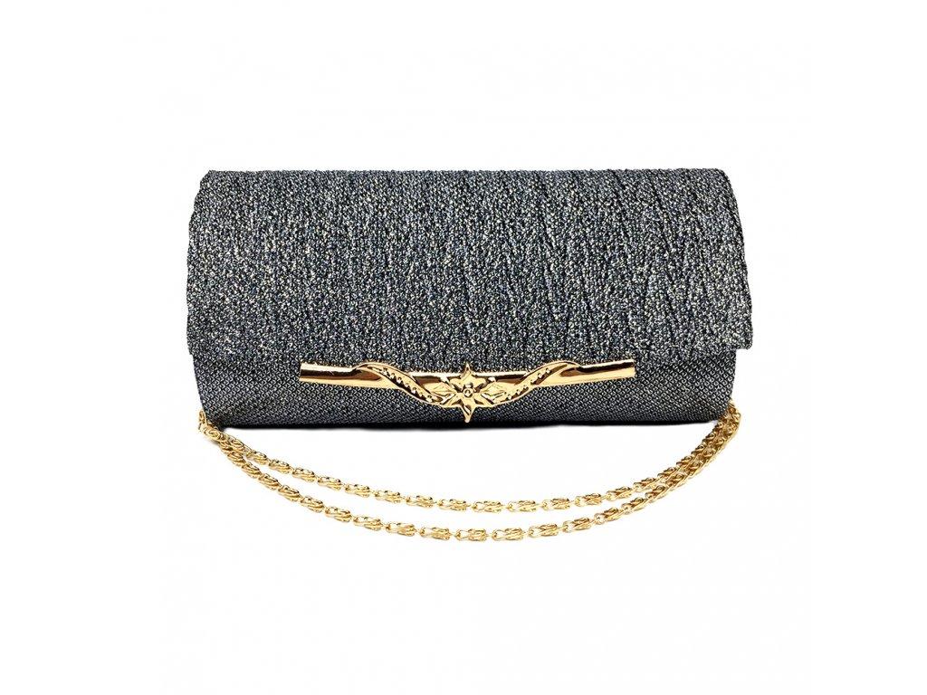 5f069f2455 Šedá stříbrná luxusní mini kabelka psaníčko na ples svatbu do společnosti  se zlatou přezkou 1