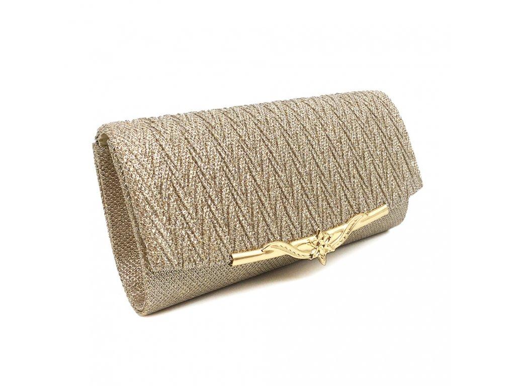 cfaff3dc1e ... Champagne krémová luxusní mini kabelka psaníčko na ples svatbu do  společnosti se zlatou přezkou 2 ...