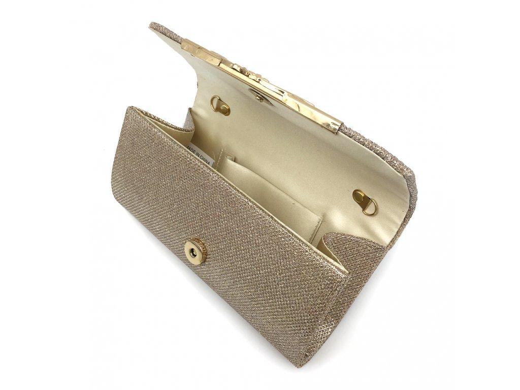 2f62659a2a ... Champagne krémová luxusní mini kabelka psaníčko na ples svatbu do  společnosti se zlatou přezkou 5 ...