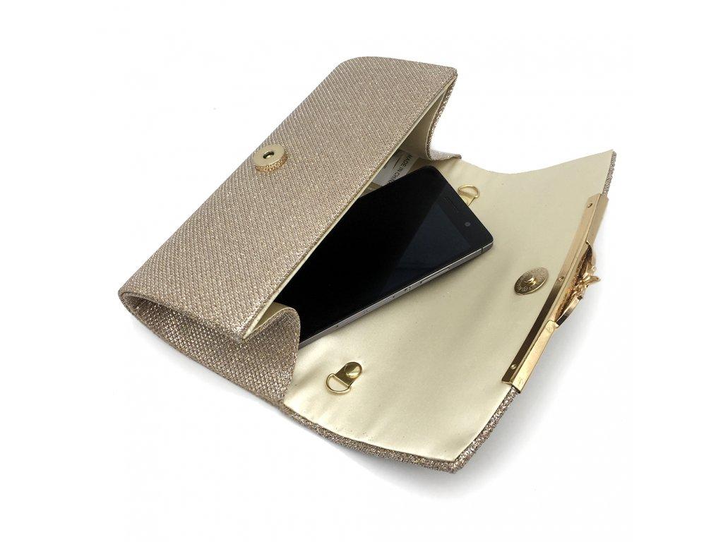 d376ff4deb ... Champagne krémová luxusní mini kabelka psaníčko na ples svatbu do  společnosti se zlatou přezkou 6 Kabelky