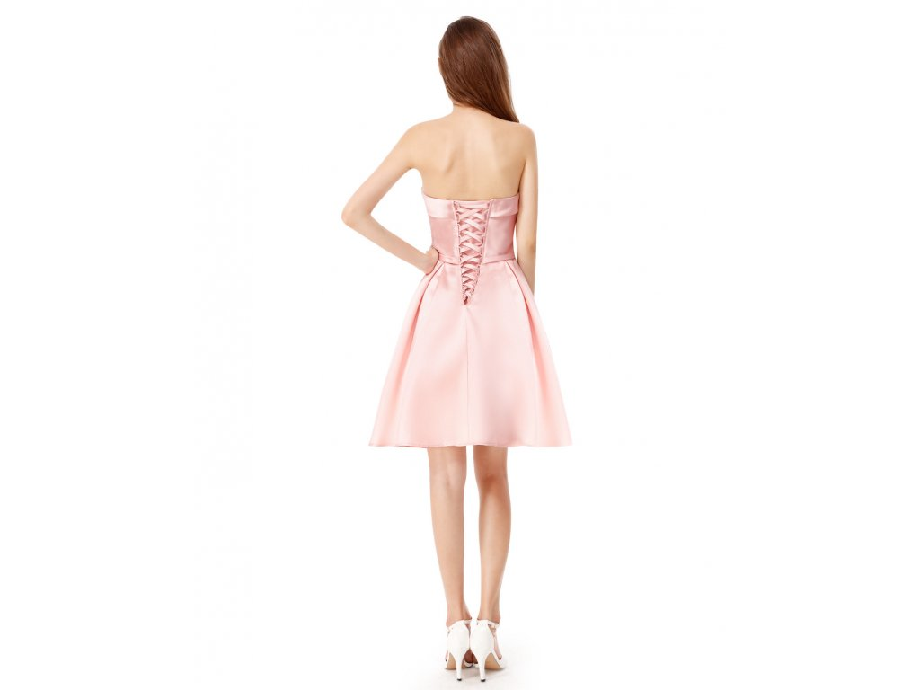 a14d53f51158 Růžové krátké společenské šaty koktejlky bez ramínek na svatbu 36-46 ...