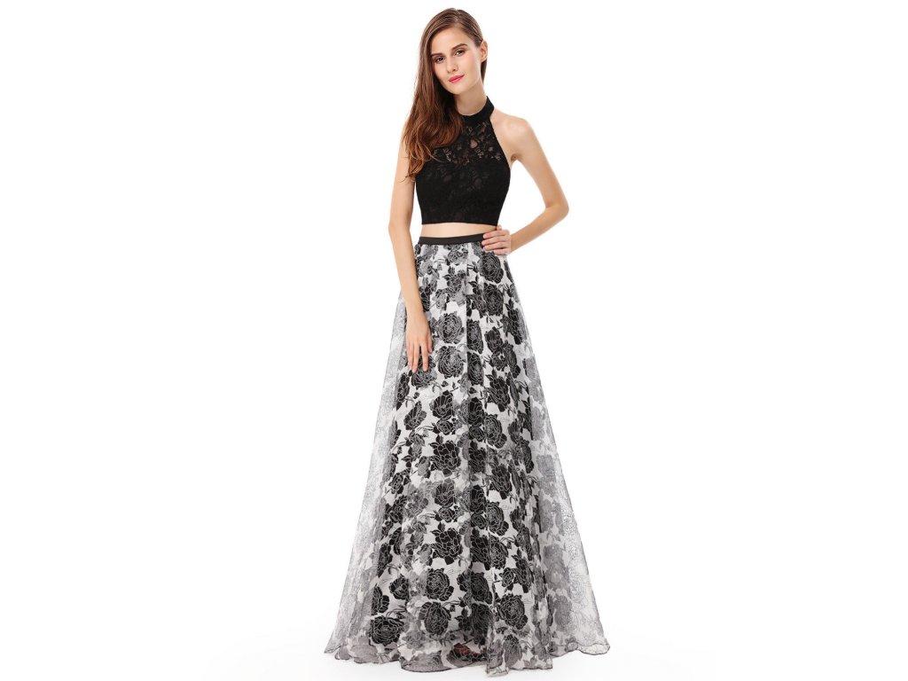 7f962976e89 Černé bílé dvojdílné sexy společenské šaty s krajkovým topem 40 ...