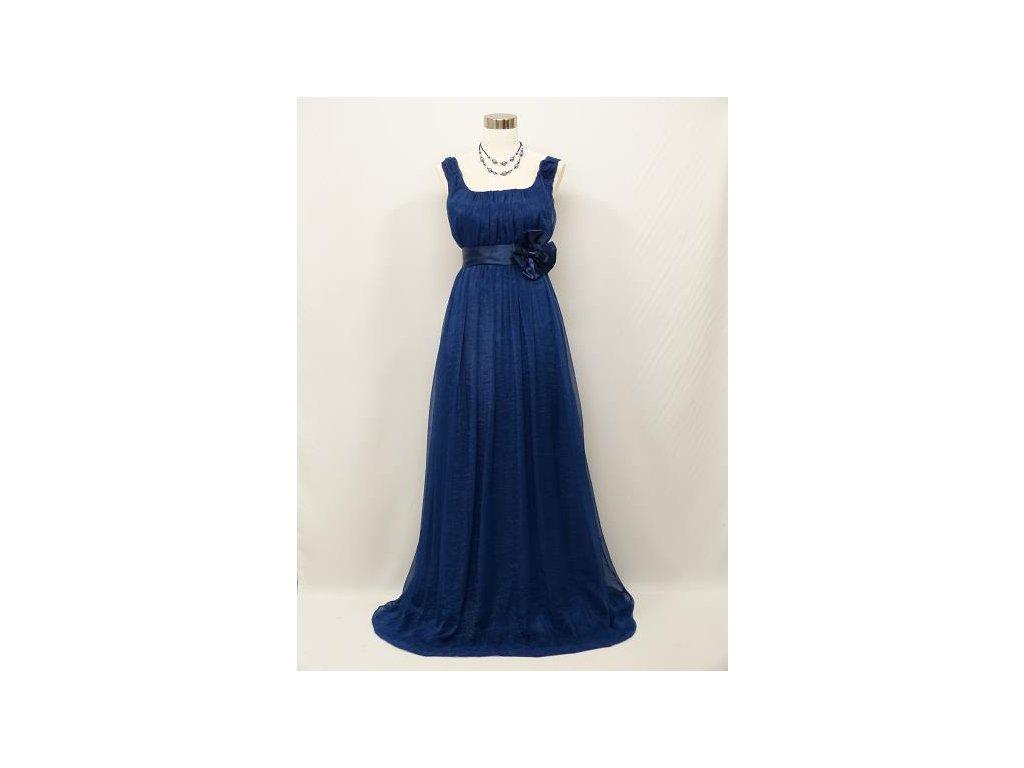 60bc77e941f Modré dlouhé společenské šaty pro těhotné i baculky empírového ...