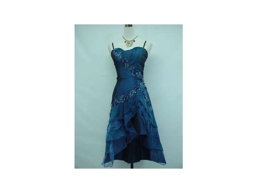c4a8a6d1d978 Modré krátké společenské šaty koktejlky s volánovou sukní do ...