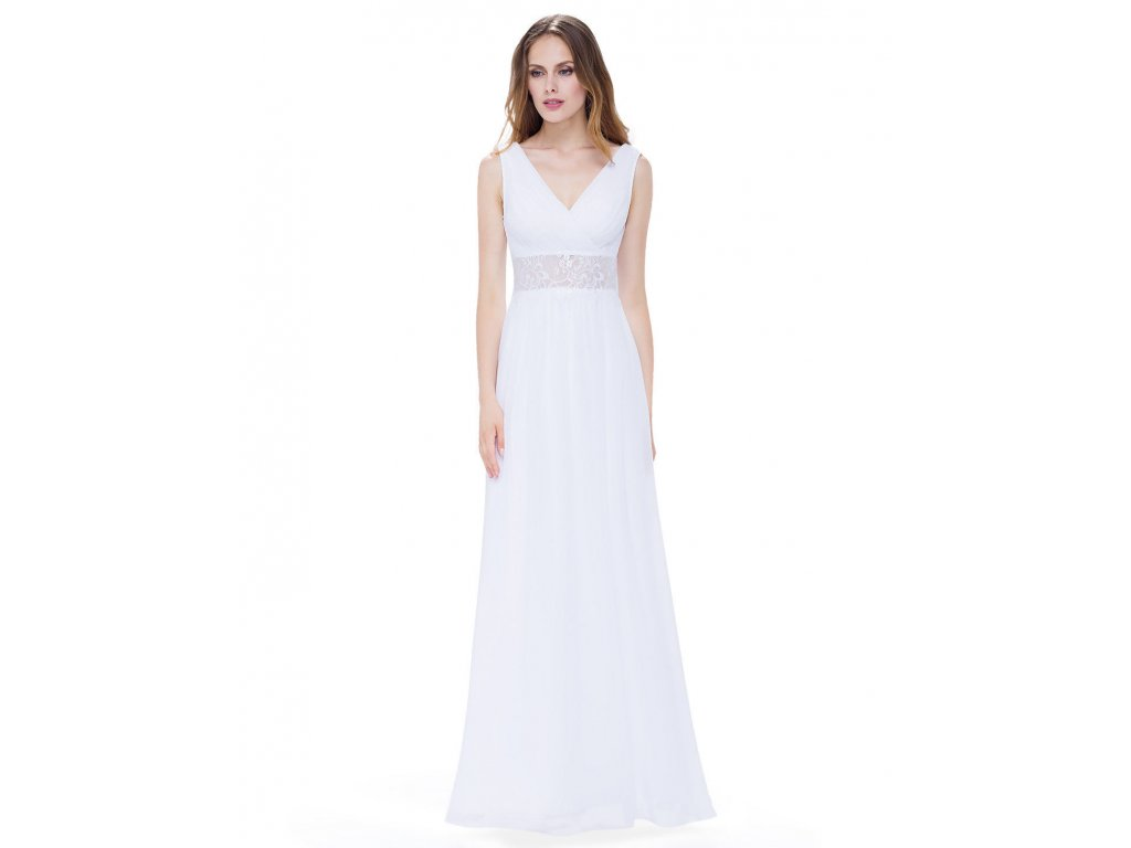 Bílé dlouhé luxusní svatební společenské šaty na svatbku s krajkou v pase 1  ... fe03673f21