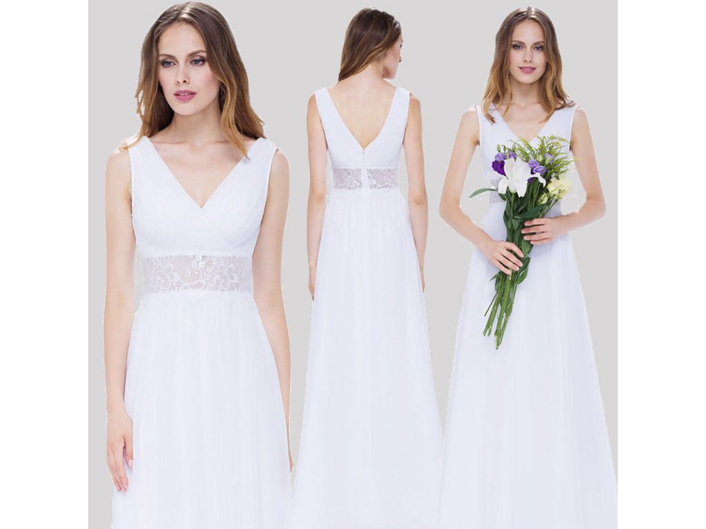e859327dd6f Bílé dlouhé luxusní svatební společenské šaty na svatbku s krajkou v pase