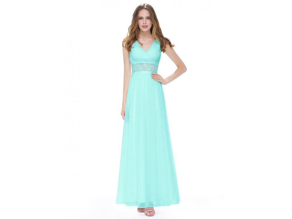 e322ab6c641f Tyrkysové modré dlouhé luxusní svatební společenské šaty na svatbku s  krajkou v pase 1 ...