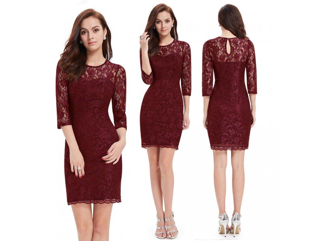 Červené krátké společenské krajkové šaty koktejlky s rukávem pro ... 9826cf5add