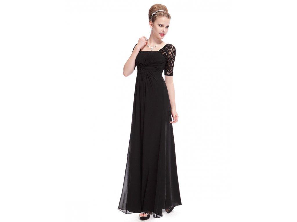 ef17b3e27db ... Černé dlouhé luxusní společenské těhotenské šaty s krajkovými rukávy 3  ...