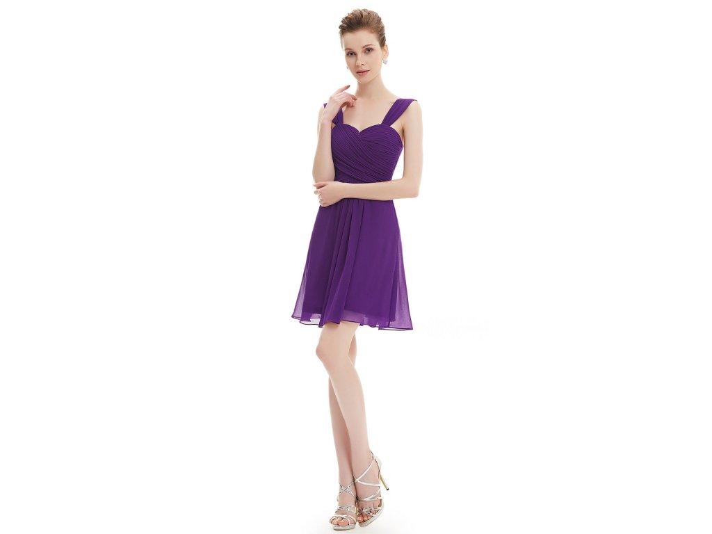 085039382d2b Fialové krátké společenské šaty pro těhotné řasené na svatbu 46-48 ...