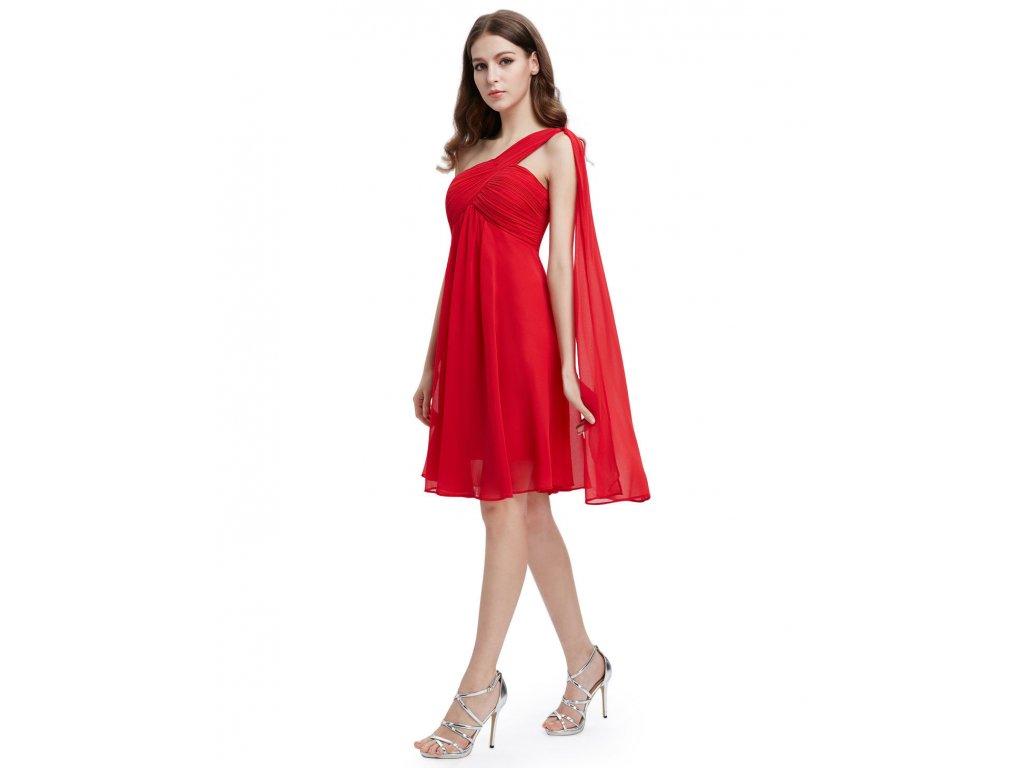 Červené krátké společenské šaty koktejlky na jedno ameno se závojem  těhotenské 3 ... 05e7f38cc5