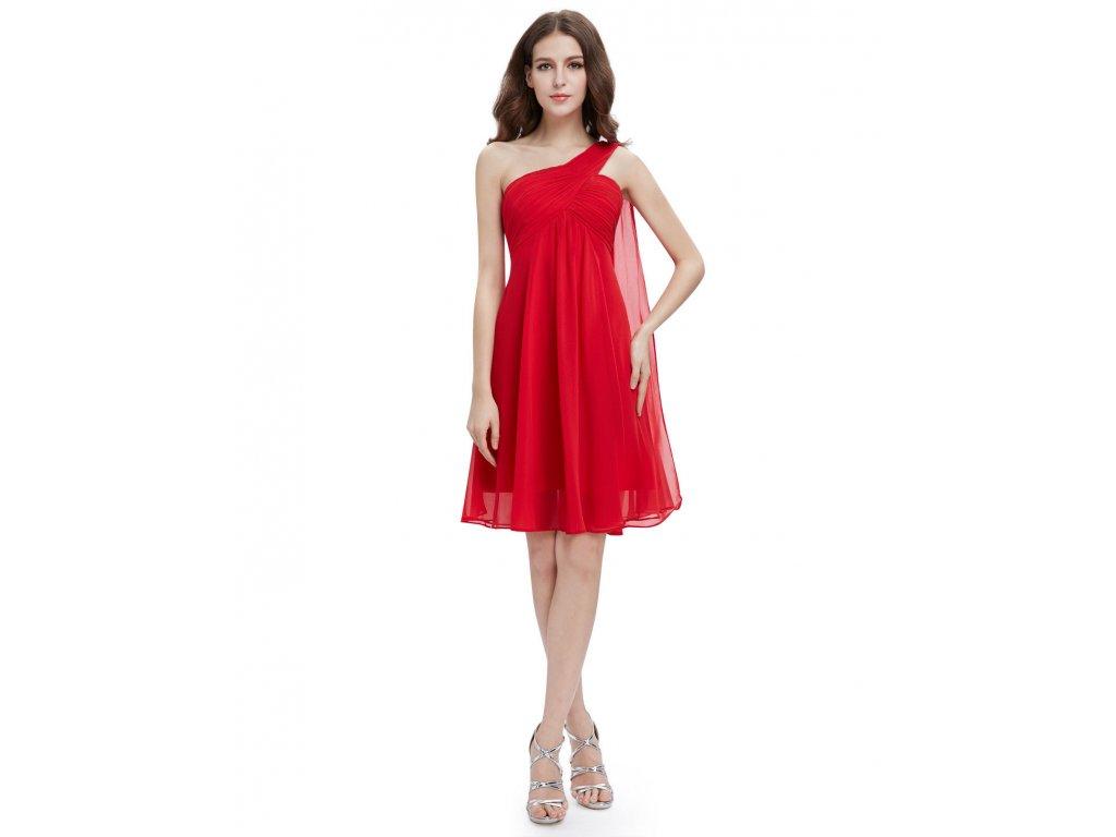 ... Červené krátké společenské šaty koktejlky na jedno ameno se závojem  těhotenské 6ecb48b69c