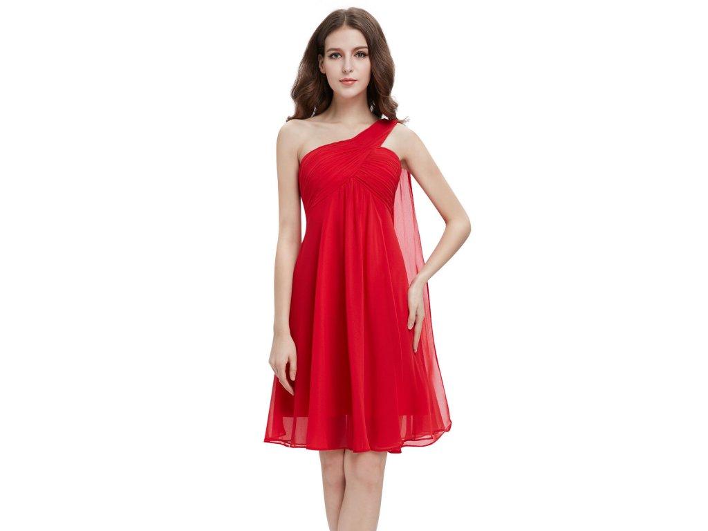 Červené krátké společenské šaty koktejlky na jedno ameno se závojem  těhotenské 1 d49ca27442