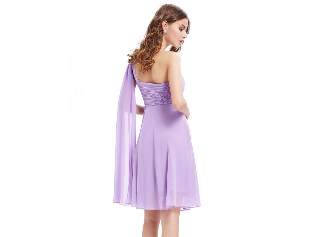 ... Lila světle fialové krátké společenské šaty po kolena koktejlky na jedno  rameno 2 ... 66ebbbab37b