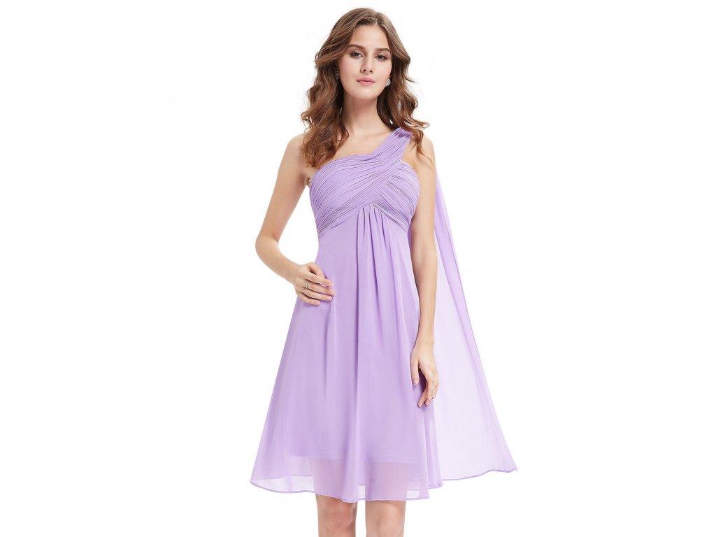 ... Lila světle fialové krátké společenské šaty po kolena koktejlky na jedno  rameno 4 ... 704cbfb701