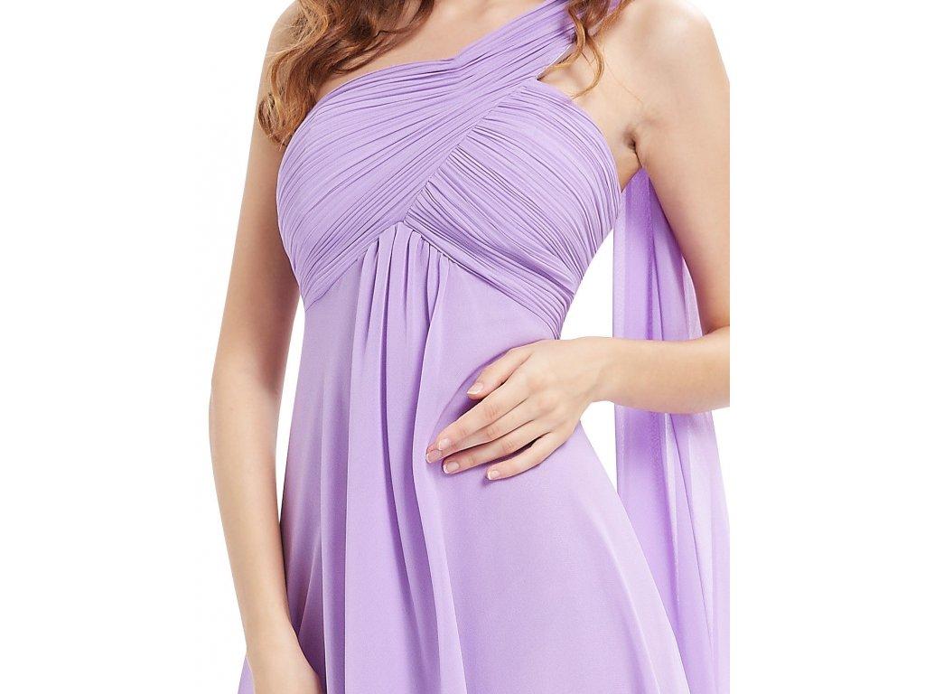 ... Lila světle fialové krátké společenské šaty po kolena koktejlky na jedno  rameno 5 ... 7babd3a174
