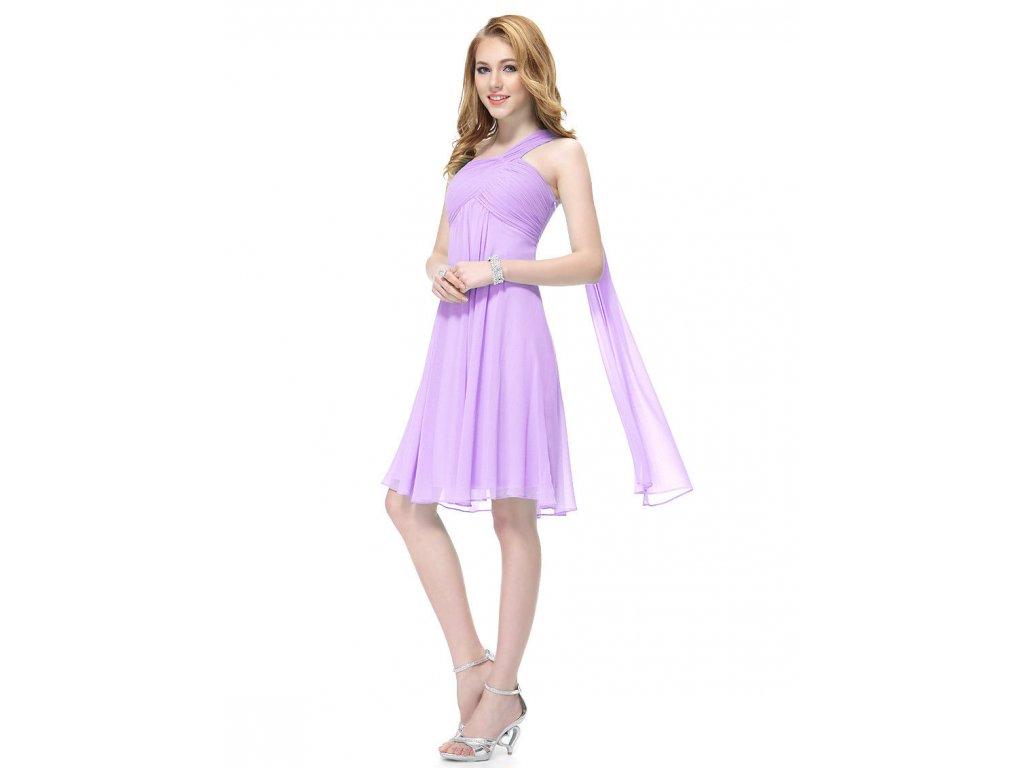 ... Lila světle fialové krátké společenské šaty po kolena koktejlky na jedno  rameno 6 561721eac79