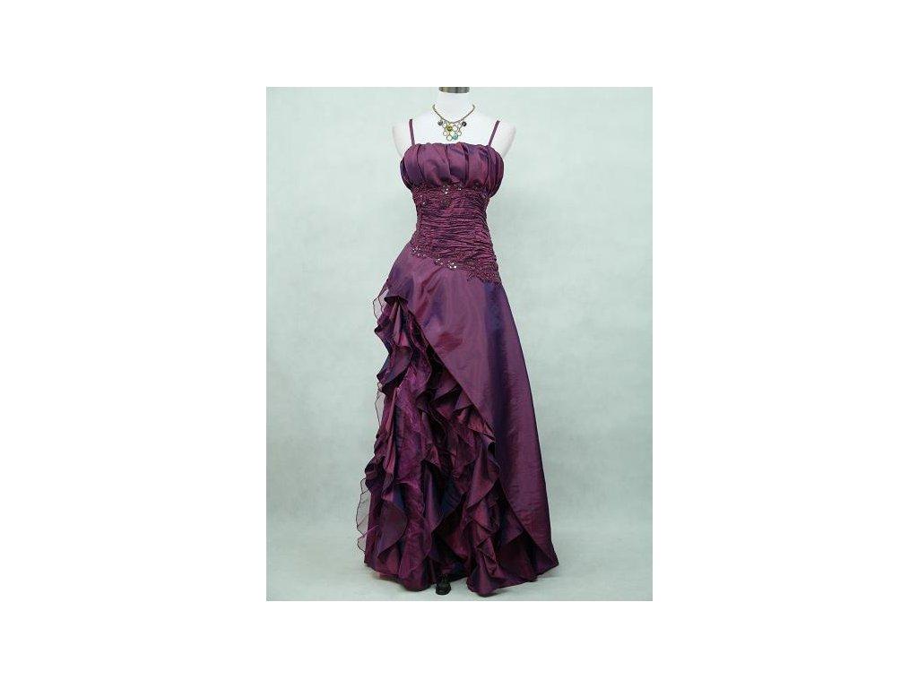 053703b0b38a Tmavě fialové dlouhé plesové společenské šaty s volány na svatbu na ...