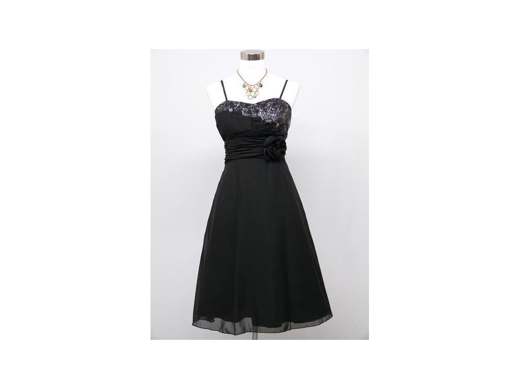 fee36249b6e5 Černé krátké společenské šaty koktejlky a asymetrickým topem a růží C3239