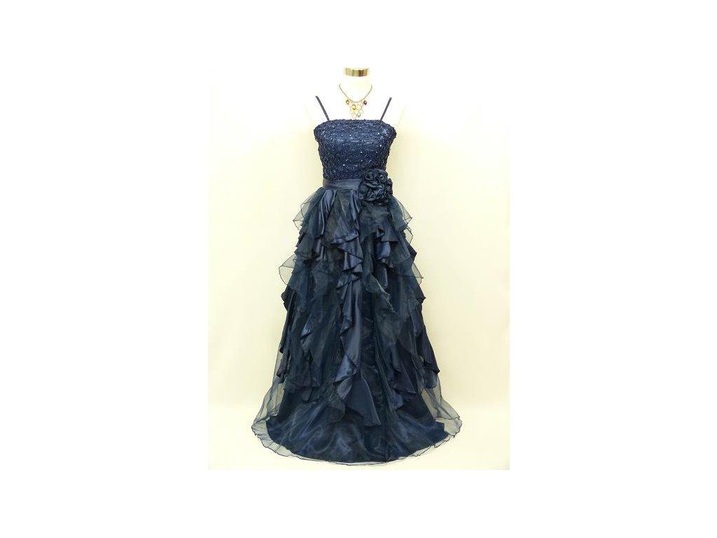 Tmavě modré luxusní společenské šaty s volány a organzou na ples 44-50 d4d72fb2bf