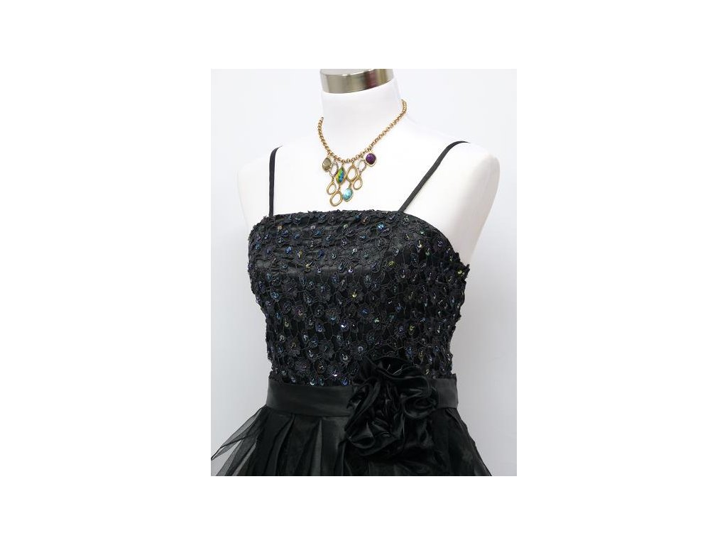 ... černé dlouhé levné společenské šaty na ples s volány a organzy C3127 2  ... 2bea380e8e