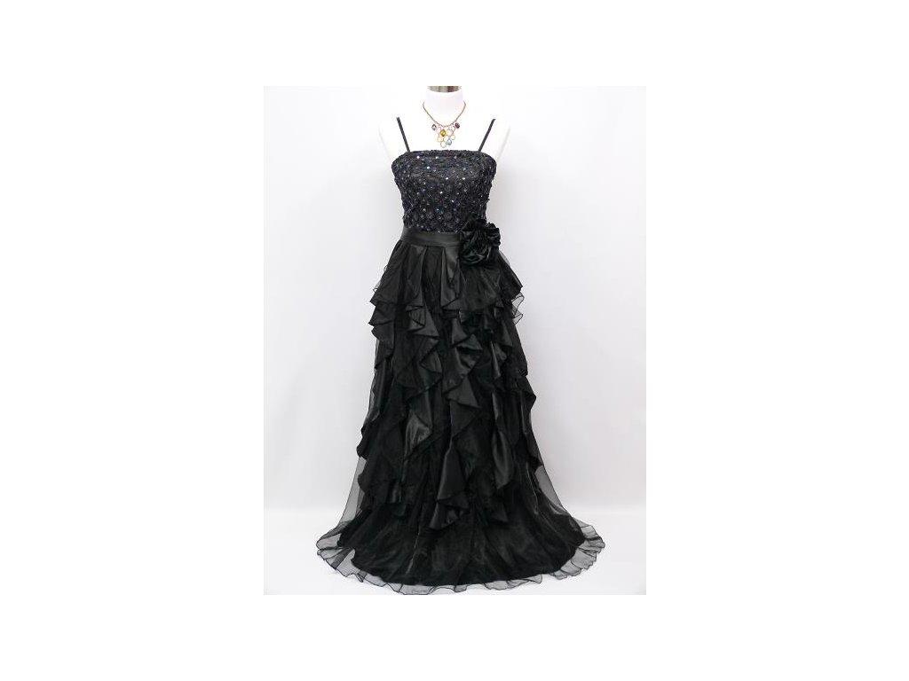 4e0c515f1d60 Černé luxusní společenské šaty s volány a organzou na ples 42-48 ...