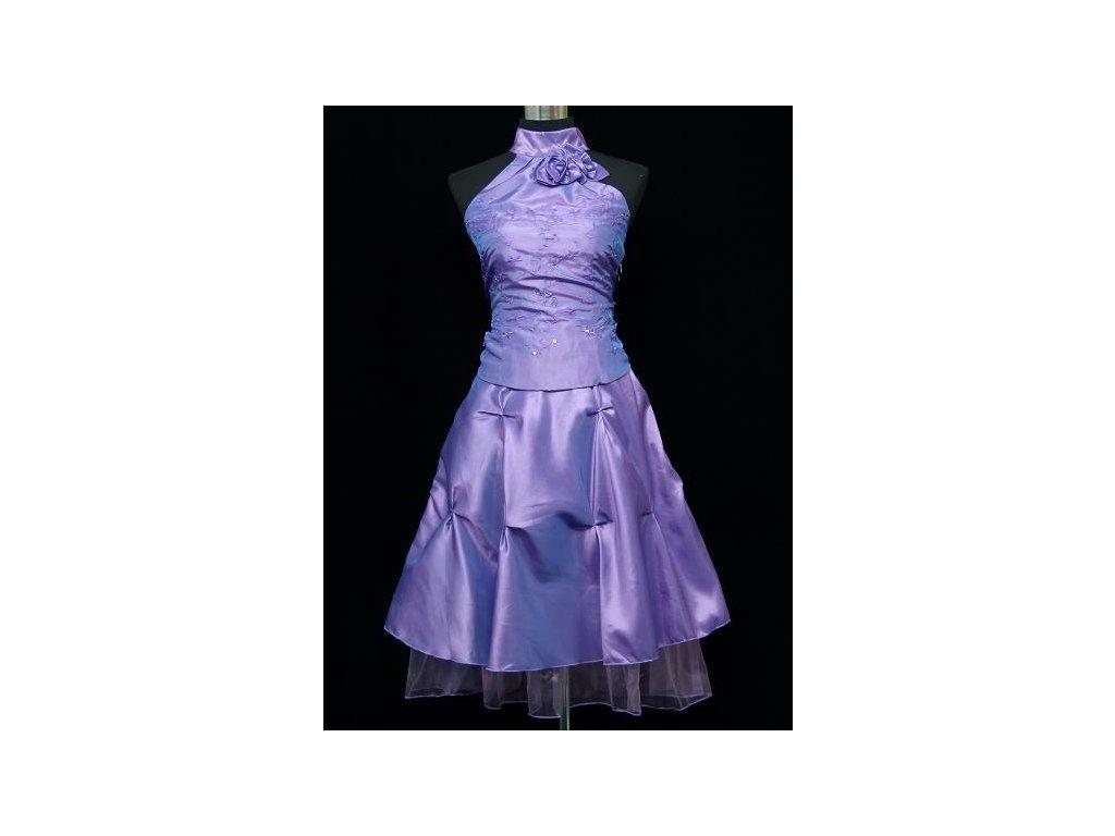 b6a737748508 Lila fialové krátké společenské šaty do tanečních za krk 40-48 - www ...