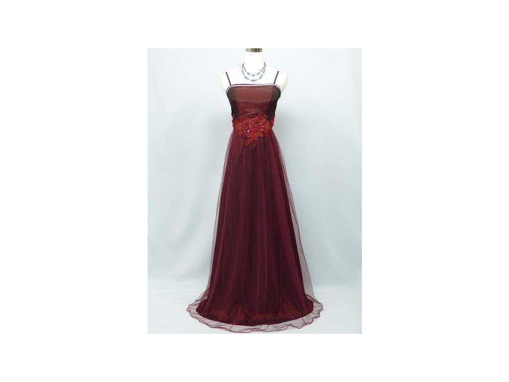 8d31e625b52 Červené bordó vínové společenské šaty s organzou sukní krajkou na ...