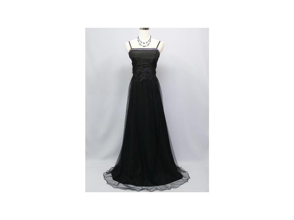 fc543118a43e Černé dlouhé elegantní společenské šaty s organzou sukní krajkou na ...