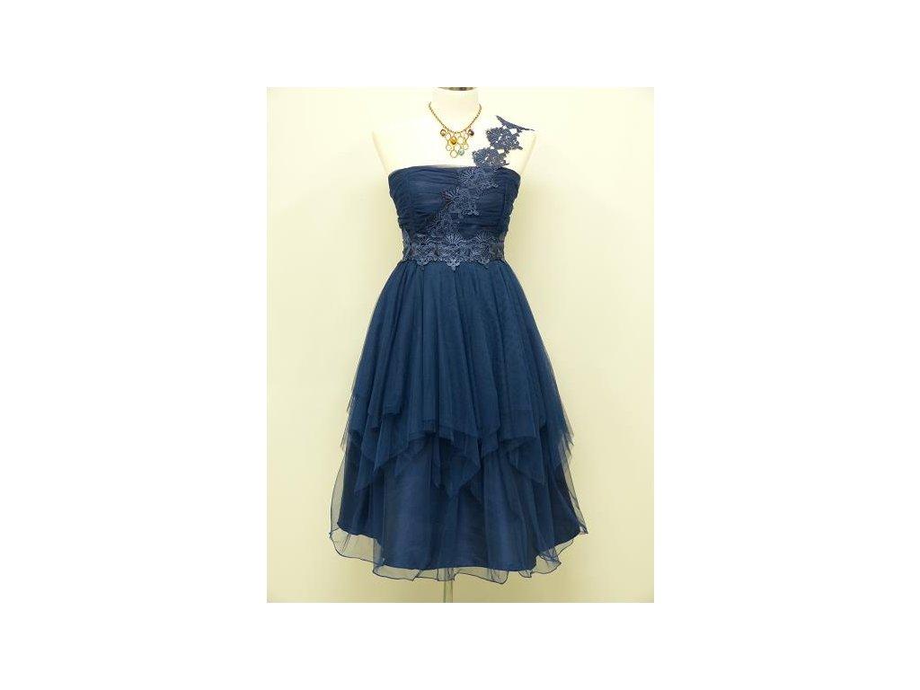 Modré krátké plesové šaty na rameno do divadla 46-52 - www ... b01f79a8fe9