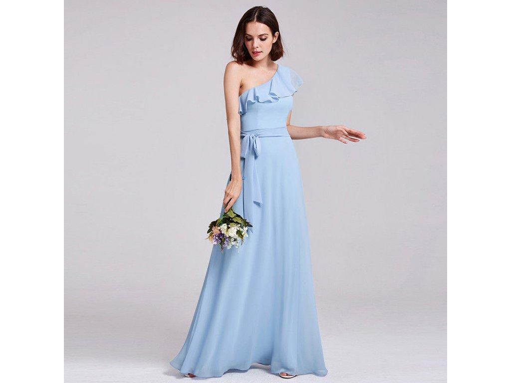 Světle modré dlouhé luxusní společenské šaty s volánem na jedno ... 949d9d50a74