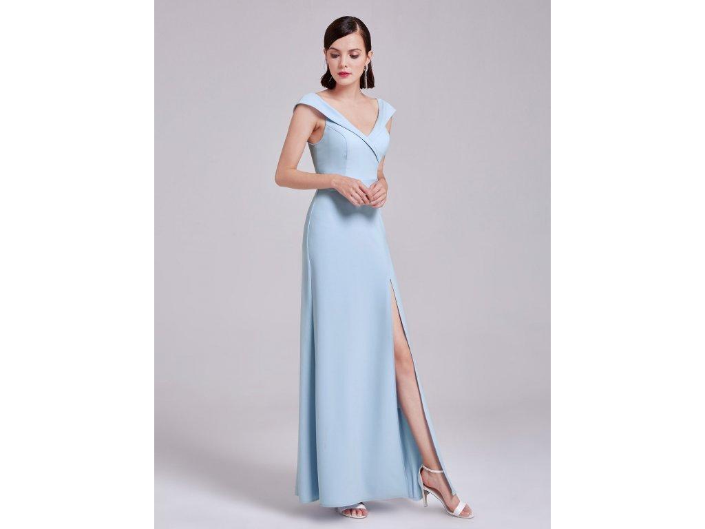 Světle modré dlouhé luxusní společenské šaty pouzdrové s rozparkem ... 772c366d01