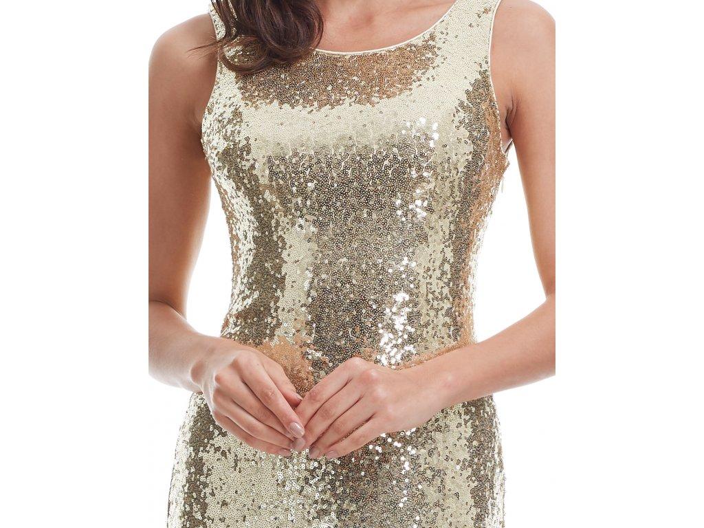 Zlaté dlouhé elegantní sexy šaty na ples s flitry 46-50 - www ... 1eeb382d4d9
