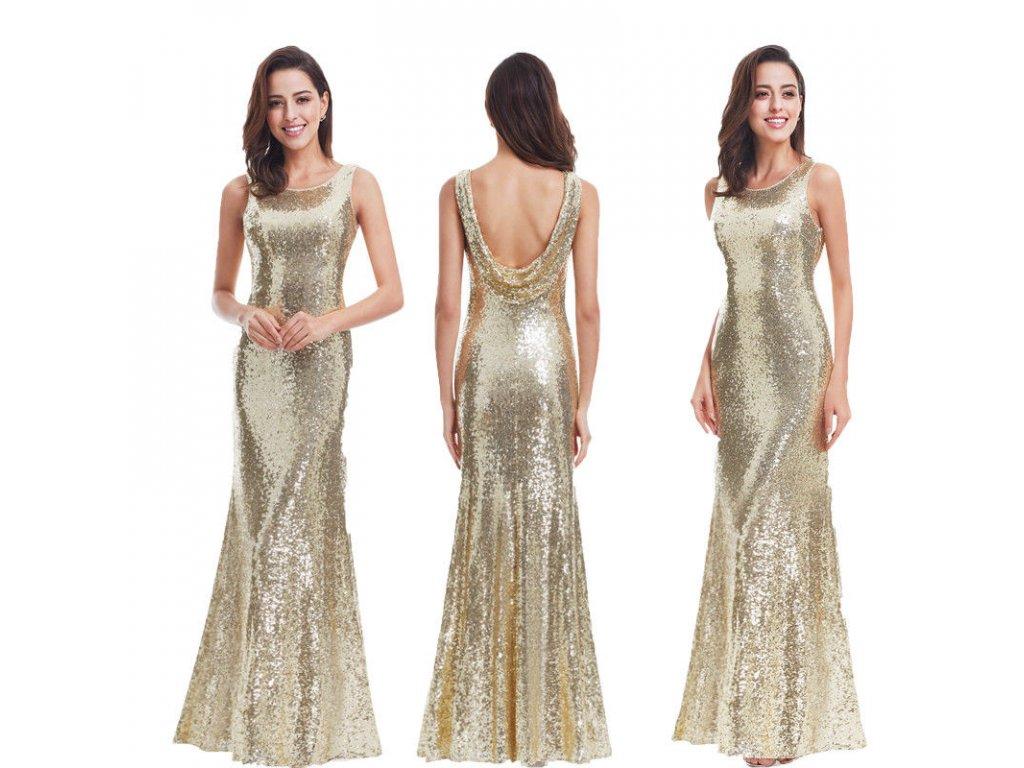 a6668f94028 Zlaté dlouhé elegantní sexy šaty na ples s flitry 46-50 - www ...