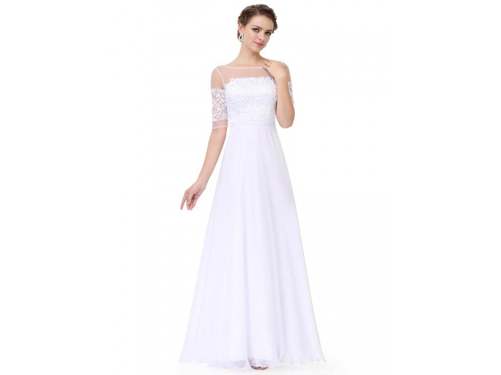 ... Bílé dlouhé elegantní svatební šaty s krajkou a rukávy na svatbu 2 ... 83a733f2c8