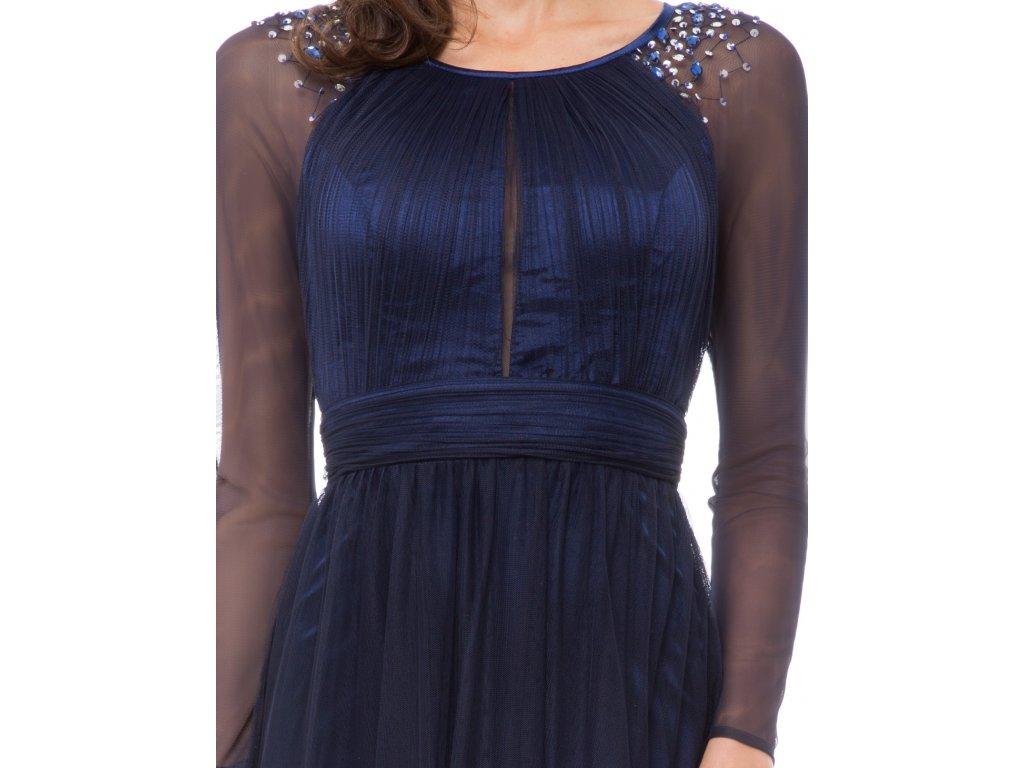 95e8d458f98 Modré dlouhé společenské šaty do opery s rukávem ke krku 40-44 - www ...