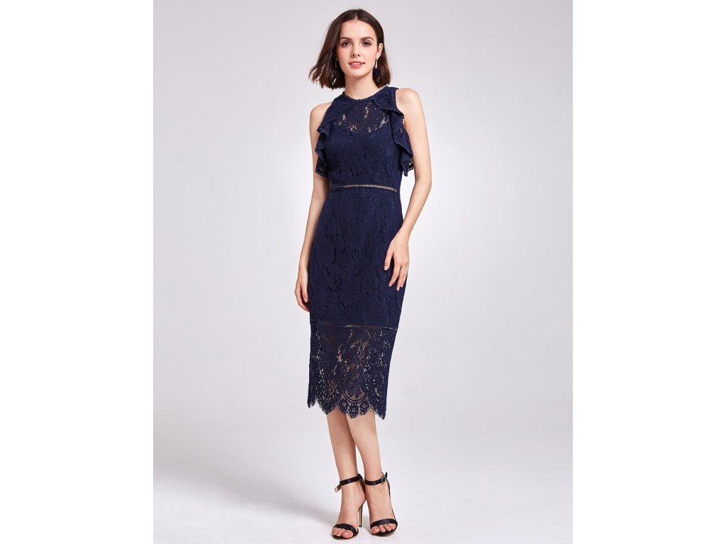 Tmavě modré krátké krajkové společenské šaty koktejlky na ples 44 ... 3d855e2dcb7