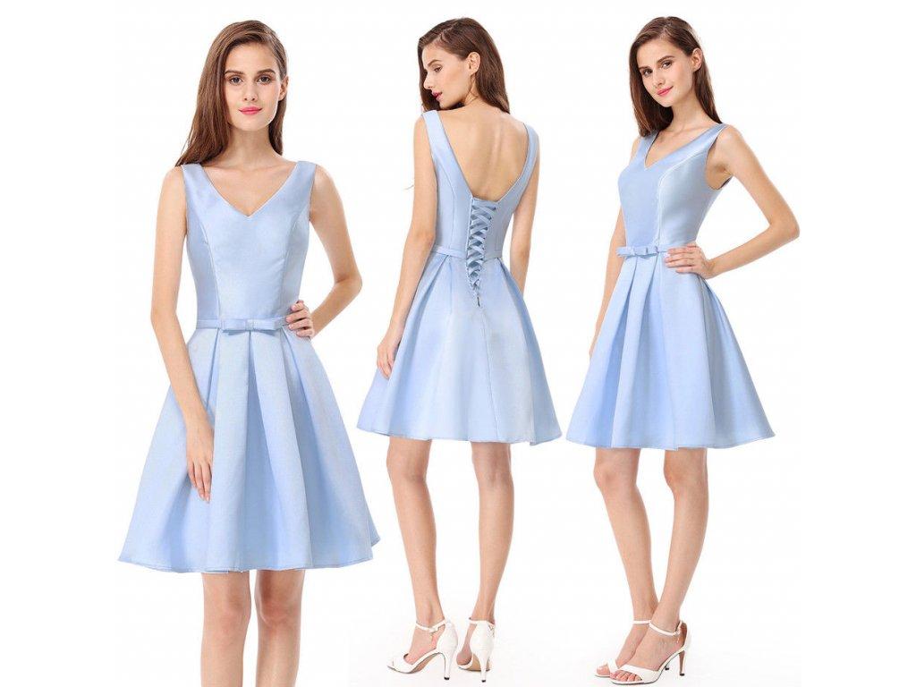 30a0a7305f47 Modré světlé krátké společenské šaty lesklé na svatbu pro družičku ...