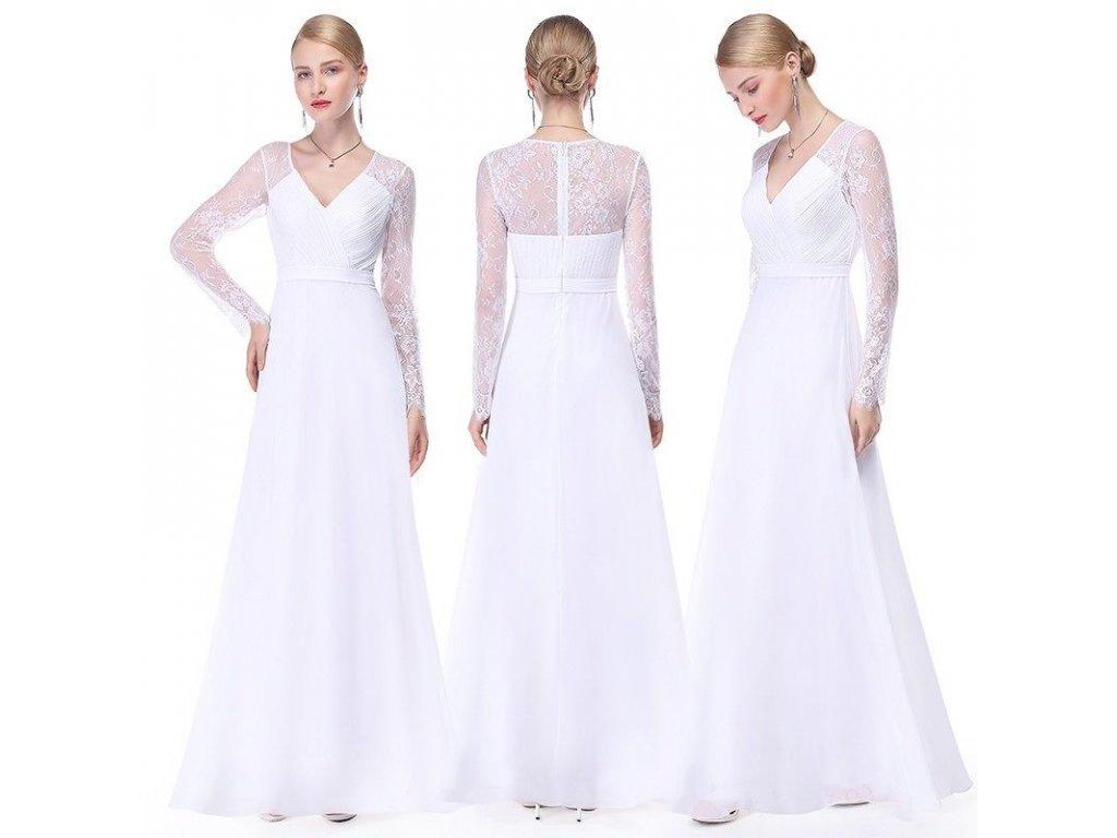 0ddf726e81b Bílé dlouhé svatební šaty s dlouhým rukávem krajkové 44-46 - www ...