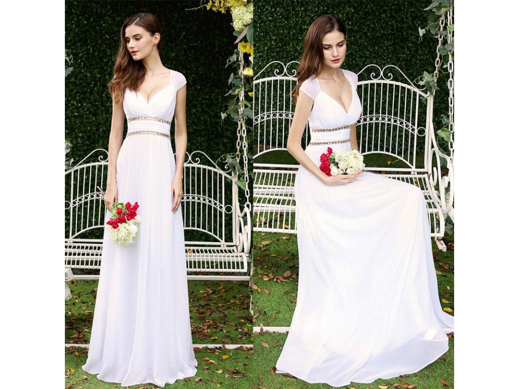 ec0fdfaa63c Bílé dlouhé šifónové svatební šaty alá antická bohyně vhodné i pro ...
