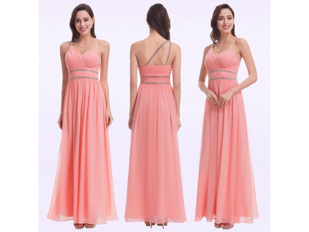 7134c70e21 Meruňkové lososové šifonové šaty na jedno rameno zdobené kamínkovými ...