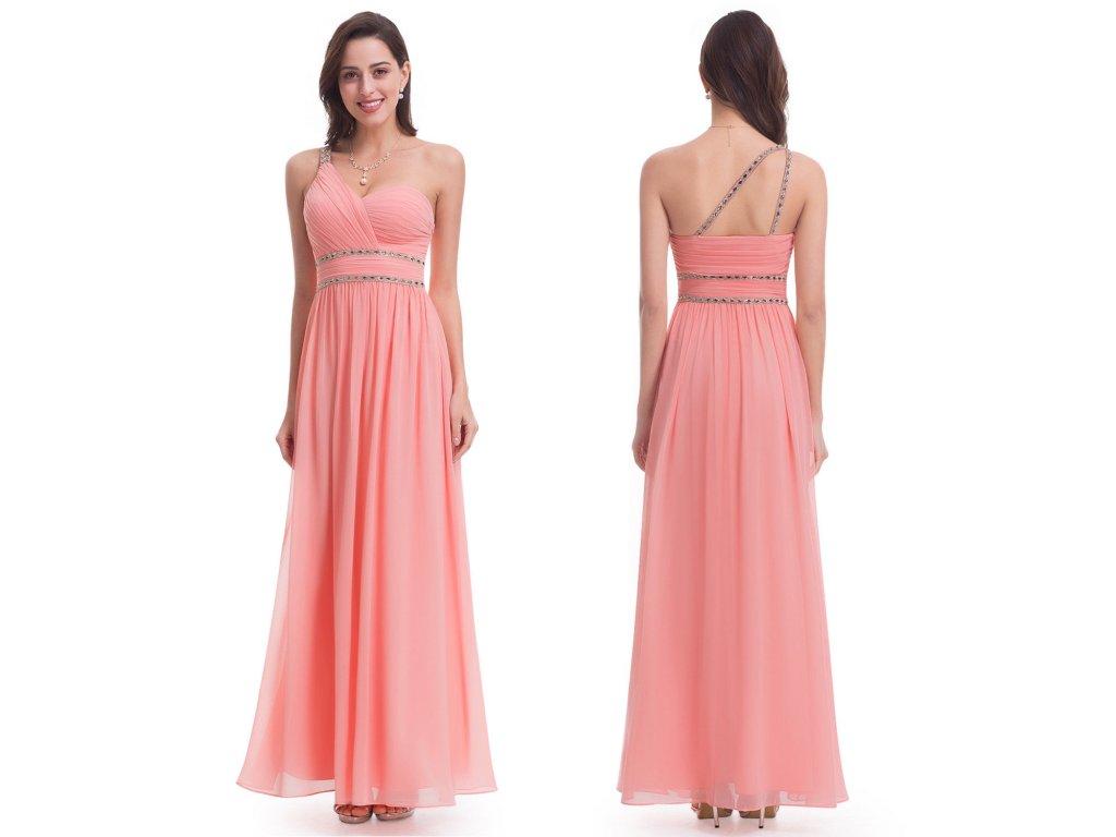 0352947005b7 Meruňkové lososové šifonové šaty na jedno rameno zdobené kamínkovými ...