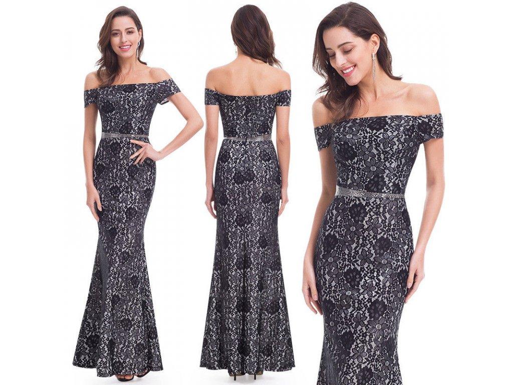 50f25a36d76 Černo bílé luxusní krajkové pouzdrové šaty na ples 44 - www ...