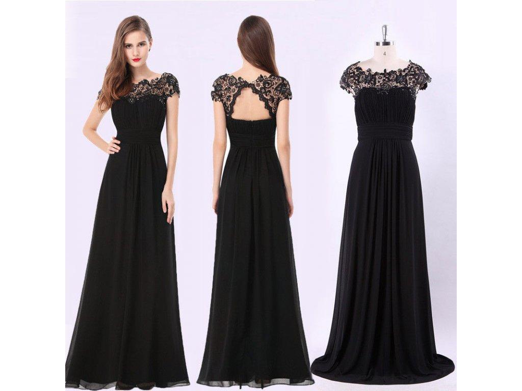 581571f7b543 Černé dlouhé společenské šaty s krajkovým topem na ples 46-48 - www ...